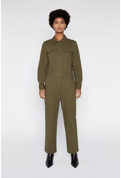 Khaki Casual Utility Boilersuit