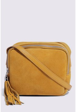 Yellow Suede Camera Bag