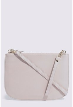 Cream Zip Half Moon Crossbody Bag