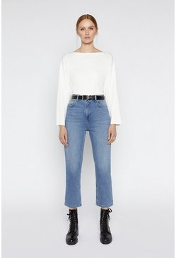 White Slash Neck Compact Boxy Jumper