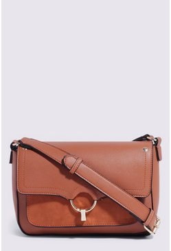 Tan Mixed Material Crossbody