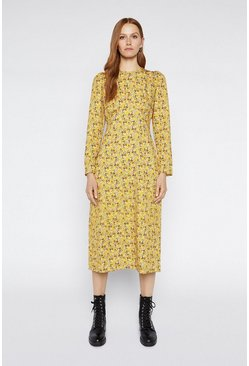 Yellow Crowded Floral Midi Dress