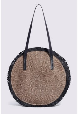 Black Fringe Straw Shopper