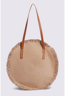 Tan Fringe Straw Shopper