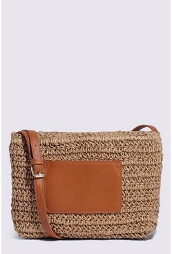 Tan Mini Straw Crossbody Bag