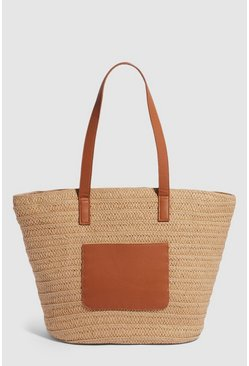 Tan Pocket Straw Shoulder Bag