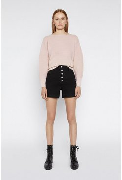Light pink Textured Boxy Jumper