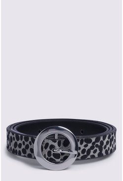 Leather Animal Print Belt