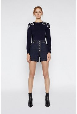 Navy Embroidered Floral Jumper