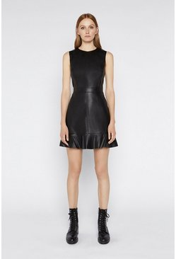 Black Ruffle Faux Leather Dress