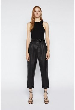 Black Belted Faux Leather Trouser