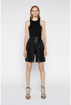Black Faux Leather City Short
