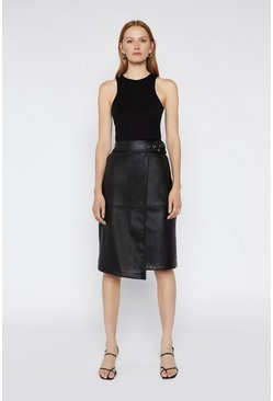 Black Belted Faux Leather Pencil Skirt