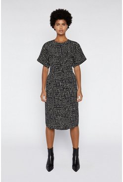 Black Utility Croc Shift Dress