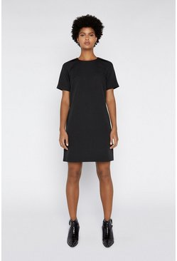 Black Raglan Sleeve Crepe Dress