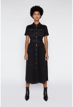 Black Topstitch Utility Midi Dress
