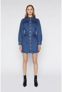 Mid wash Longline Denim Jacket Dress