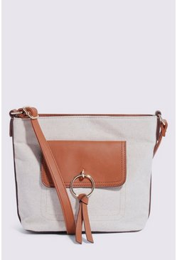 Tan Linen Pocket Detail Crossbody