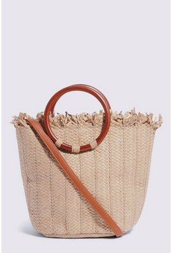 Tan Handle Detail Straw Grab Bag