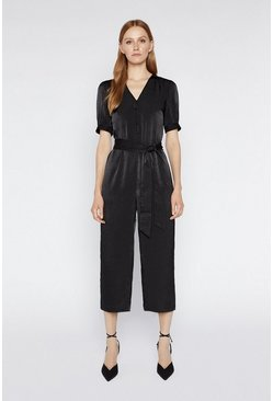 Black Satin Puff Sleeve Jumpsuit