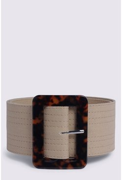 Tan Stitch Detail Textile Belt