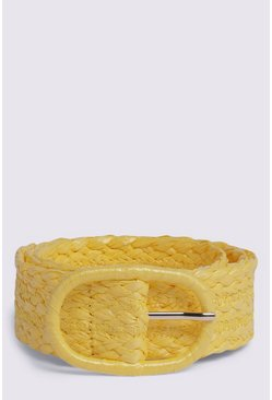 Yellow Raffia Belt