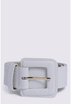 White Faux Leather Belt