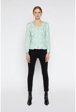 Green Floral Button Front Top