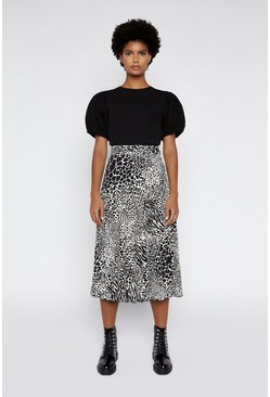 Black Mono Animal Pleated Midi Skirt