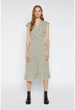 Multi Geo Pleated Lapel Midi Dress