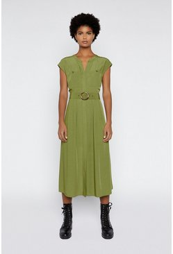 Light green Horn Ring Belted Midi Dress