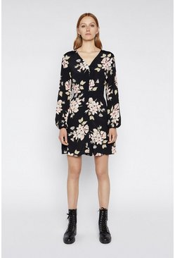 Black Floral Mini Tea Dress