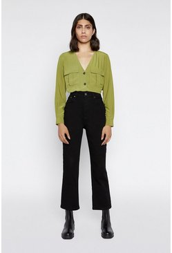 Light green Button Front Top