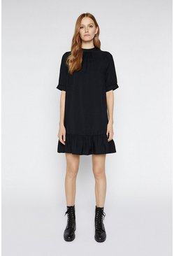 Black Bubble Sleeve Frill Hem Dress