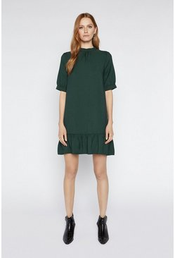 Dark green Bubble Sleeve Frill Hem Dress