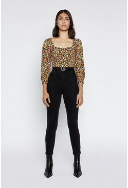 Multi Floral Square Neck Top