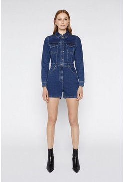 Dark wash Long Sleeve Denim Playsuit
