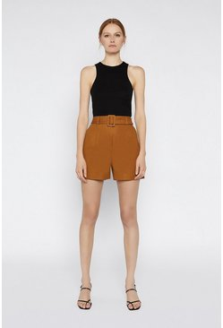 Brown Compact Cotton Short