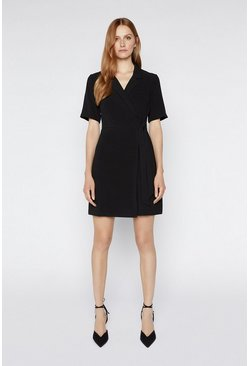 Black Wrap Crepe Dress