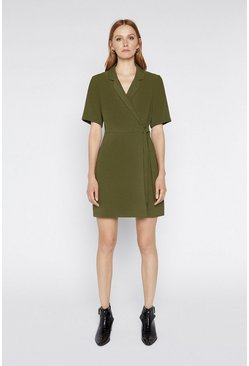 Khaki Wrap Crepe Dress