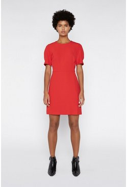 Red Split Front Crepe Dress