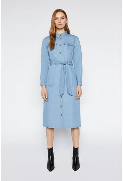 Mid wash Belted Utility Shirt Dress