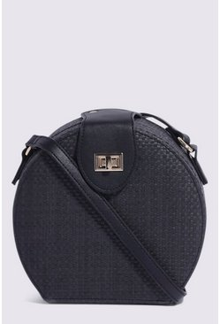 Black Mini Circle Straw Crossbody