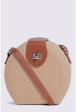 Tan Mini Circle Straw Crossbody
