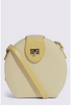 Yellow Mini Circle Straw Crossbody