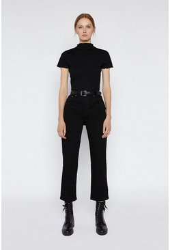 Black Funnel Neck Lettuce Edge Top