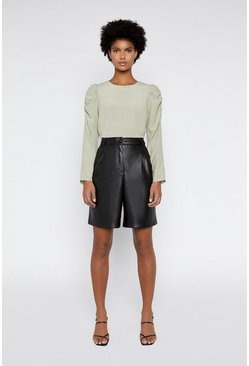 Light green Ruched Sleeve Top