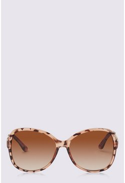 Brown Oversized Round Sunglasses