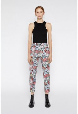 Multi Floral Compact Cotton Trouser