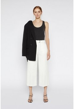 Ecru Compact Cotton Wide Leg